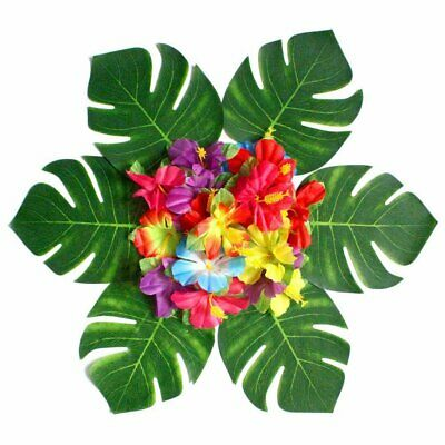 10/54X Tropical Leaves Hibiscus Flower Artificial Palm Plant For Party Decor  EA