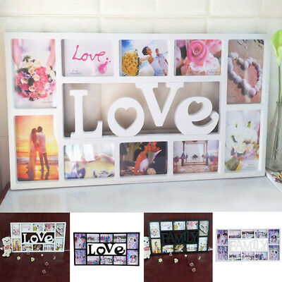 Family Love 10 Grid Multi Aperture Photo Picture Frame Holds 6''X4'' Photos