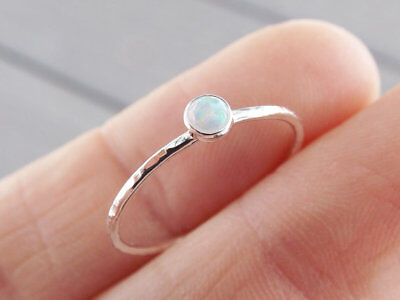 925 Silver White Fire Opal Fashion Wedding Proposal Women Jewelry Ring Size 6-10