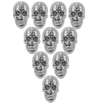 10 Pcs Retro Silver Skull Rivet Studs with Screw for DIY Shoes Bag Leather craft