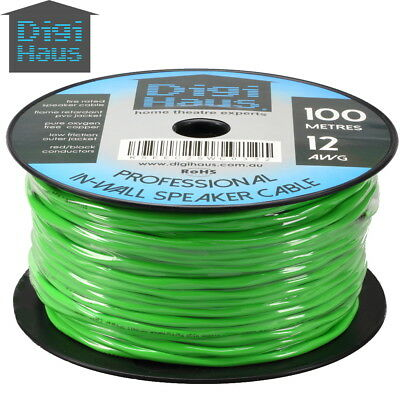 100m 12AWG Premium Speaker Cable Wire Roll Pure OFC Fire Rated In Wall Theatre