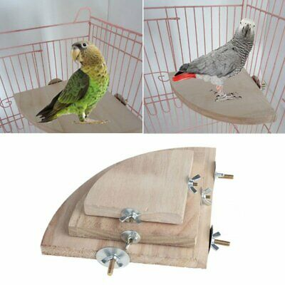 Pet Bird Parrot Chew Toy Fan Shaped Wood Swing Cages Parakeet Stand Platform EA
