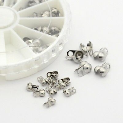 1 Box Mixed Size 304 Stainless Steel Bead Tips Knot Covers Stainless Steel Color
