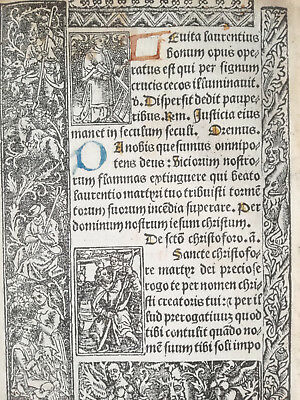 Book of Hours Leaf Vostre Horae Woodcut St. Stephen, St. Christopher Paris 1501
