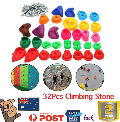 32Pcs Climbing Stone Rock Wall Hand Hold Climb Feet Plastic Indoor Sports Train