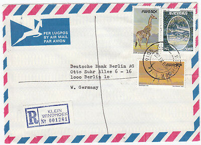 O7003 Namibia reg. Commercial cover to W. Germany, 1986; 95c rate; 3 stamps