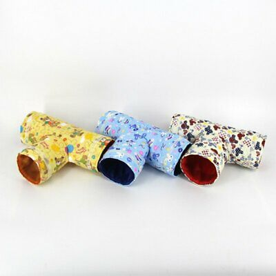 Hamster Guinea Pig Toy Cotton 3 Way Tunnel Small Cartoon Pet Tubes Bed Nest EA