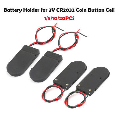 1/5/10/20x Battery Holder Case With On-Off Switch Box CR2032 3V Button Coin Cell