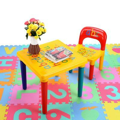 Kids Table and Chairs Set For Toddler Baby Gift Desk Furniture Letter Print Home