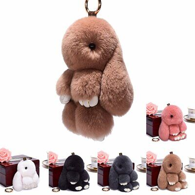 Adorable Fur Bunny Fluffy Rabbit Plush Toy Keyring Bag Charm Pendant Keychain GN