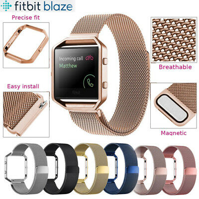 UK Magnetic Stainless Steel Metal Wrist Band Strap +Metal Frame For Fitbit Blaze