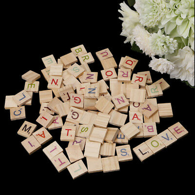 Wooden Scrabble Tiles Colorful Letters Numbers For Crafts Wood Alphabet Toy 100x