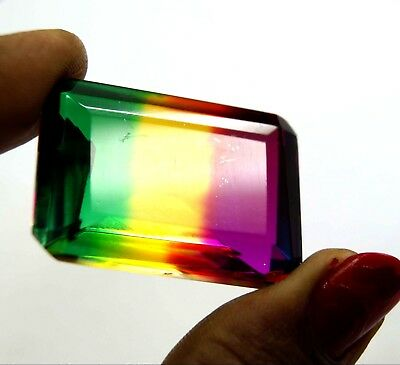 New Year Offer GGL Certified 99.00 Ct Emerald Cut Multi Color Tourmaline Gem