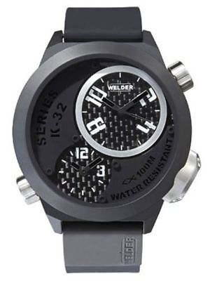 Welder by U-Boat K32 Oversize Triple Time Zone Black Ion-Plated Steel Mens Watch