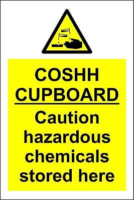 COSHH Cupboard Safety Sign - Self adhesive vinyl 150mm x 200mm