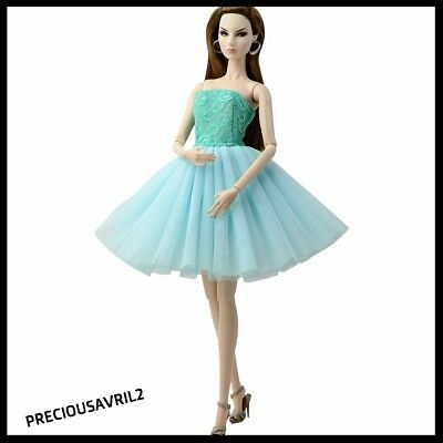 New Barbie doll clothes outfit evening short dress gown TURQUOISE dress
