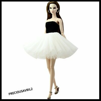 New Barbie doll clothes outfit evening short dress gown Black & White cocktail