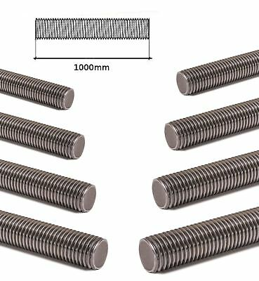 FULLY THREADED ROD ZINC PLATED STUDDING BAR GRADE 4.8 - 1m LENGTHS M6-M24