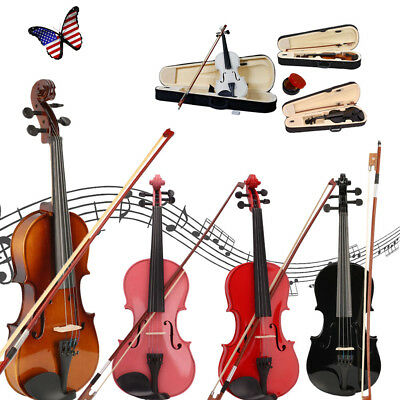 Acoustic Violin Beginner Student Fiddle 1/2 1/4 1/8 3/4 4/4 Full Size Xmas Gift