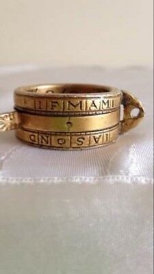 german sundial brass vintage collection portable ring dated and engraved 1721