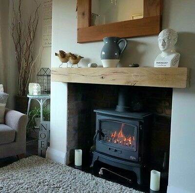 "Oak Beam Mantle Fireplace Mantelpiece Square 6""x4"" Choose Length and Finish"