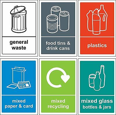 Recycling bin Sign/Sticker pack - Self adhesive vinyl Pack of 6 150mm x 100mm