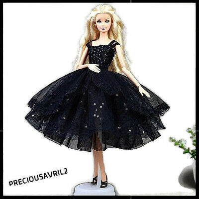 New Barbie doll clothes wedding party evening clothing outfit black net dress.