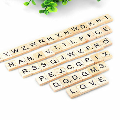 200 wooden scrabble tiles black letters numbers for crafts wood alphabets - scrb
