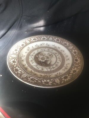 "Sampson Hancock ""Palmyra"" Dinner Plate 1880s Brown and  White"
