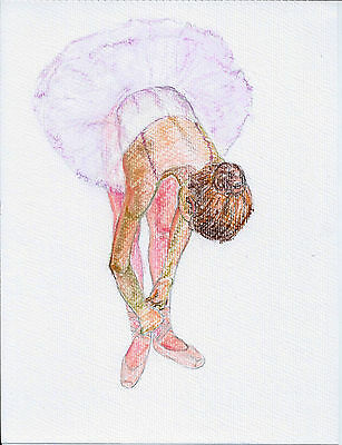 Australian art,Ballerina drawing in pastel on watercolour paper ,Original art