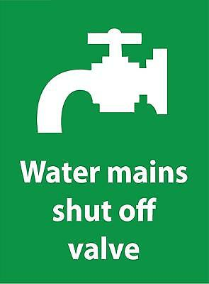 Water Mains Shut Off Valve Sign - Self adhesive vinyl 200mm x 150mm