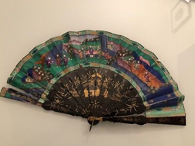 Antique wooden thousand faces fan china export wood fan china