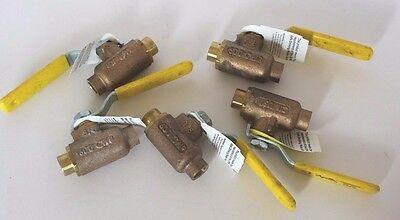 """Lot of 5 Apollo 3/8"""" Bronze Ball Valve 70-202-01; Blow-out-proof, Solder End"""