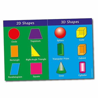 3D & 2D Shapes Primary School Classroom Poster A2 For Kids Pupils Mathematics