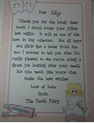 Handmade personalized A4 Girls letter from the Tooth Fairy
