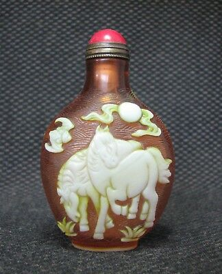 Special Chinese Glass Carve Horse Design Snuff Bottle,。//////,