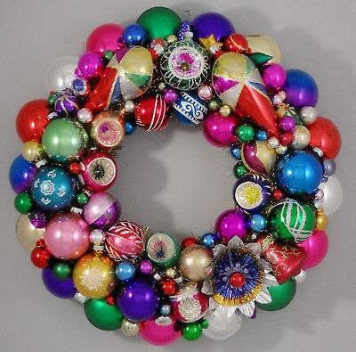 """Vintage Glass Christmas Ornament Wreath Hand Made 17"""" Red Blue Purple  (174)"""