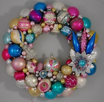 """Vintage Glass Christmas Ornament Wreath Hand Made 17"""" Blue Pink Gold (176)"""