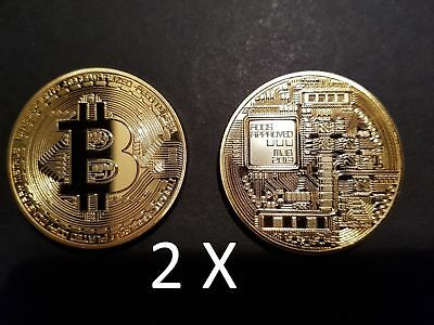 2 x Physical Bitcoin Rare Collectable Golden Plated Commemorative Coin Gift NEW
