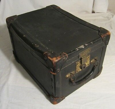 "Unusual Shaped EXCELSIOR LINED ANTIQUE TRAVEL CASE with Drawer -- 11"" x 14"" x 9"""
