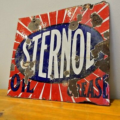 Original Vintage Sternol Oils Enamel Sign Retro Automobilia Garage Mancave