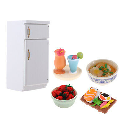 Wood Refrigerator Fridge & Food Set For 1/12 Dolls House Miniature Accessory