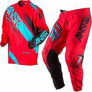 """Answer Syncron Adult Motocross Kit Red Teal Waist 36"""" X  Large  Top New"""