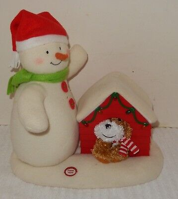 Hallmark Jingle Pals 2011 Deck the halls Snowman w/barking dog/lighted house