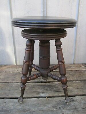 Antique Ball & Claw Piano Stool