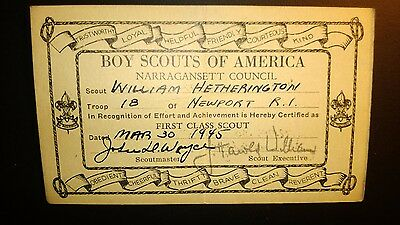"""Vintage  """"BOY SCOUTS of AMERICA"""" 1st Class Scout Mar.30,1945 Certificate Card"""