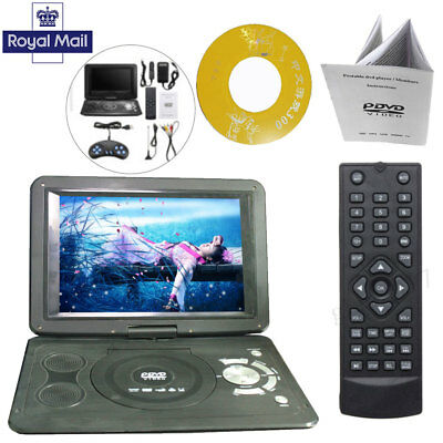"HD TV Portable DVD Player 16:9 LCD 270° Swivel Screen 110-240V UK Plug 13.9""inch"