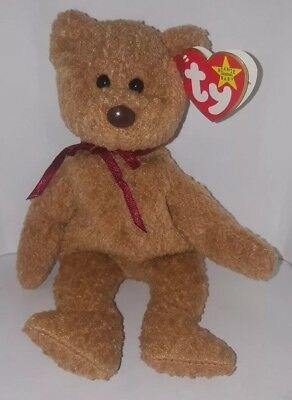 Ty Beanie Baby Original Curly The Bear 1996 Brown Nose PE Pellets