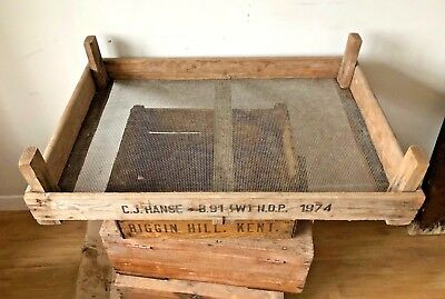 Vintage Wooden Crate Flower Display Box Florists Tray Wire bottom Apple Wood 74