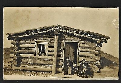 Rppc  Mannhaven Nd Indian Family In Front Of Their Home